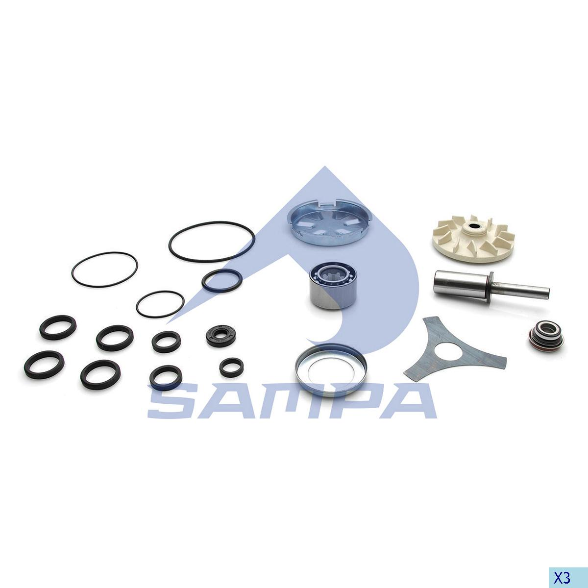 Repair Kit, Water Pump, Volvo, Engine