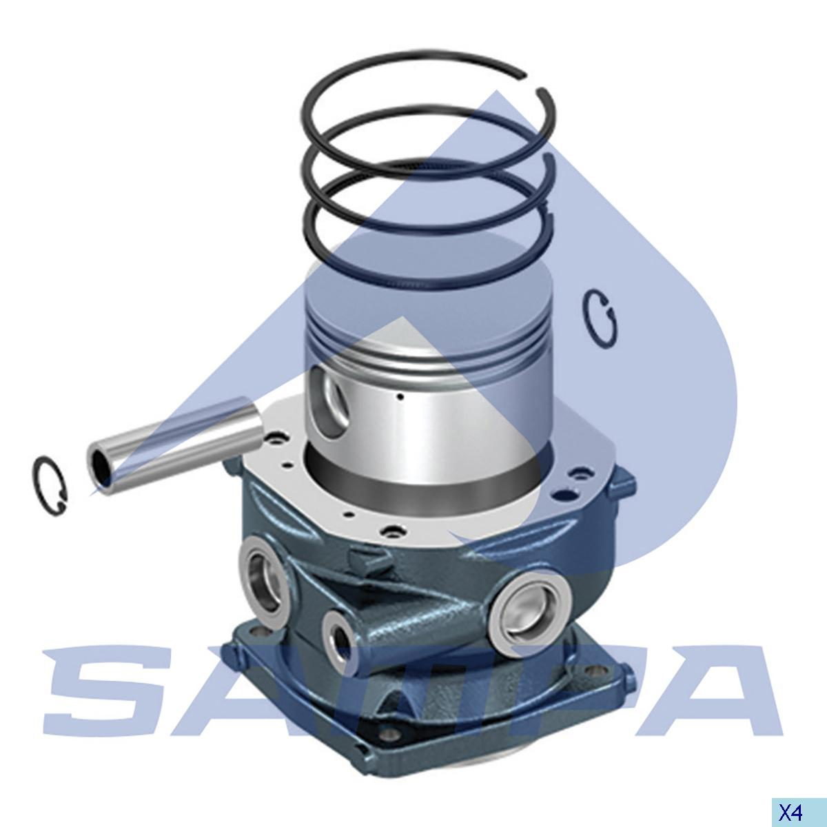 Cylinder Liner & Piston With Rings, Piston, Man, Compressed Air System