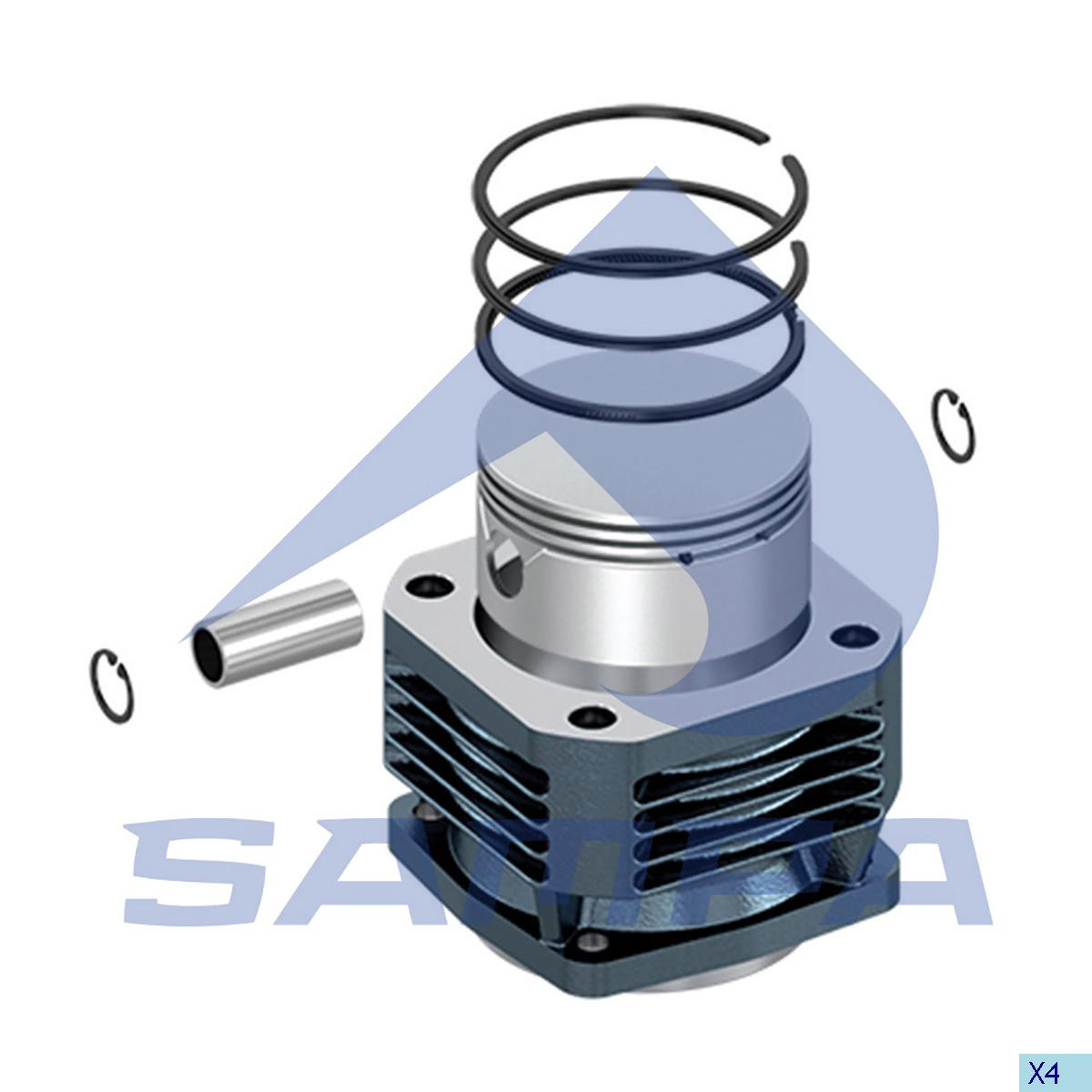 Cylinder Liner & Piston With Rings, Piston, Mercedes, Compressed Air System