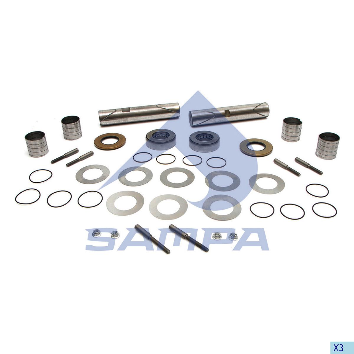 King Pin Kit, Axle Steering Knuckle, Kaiser, Power Unit
