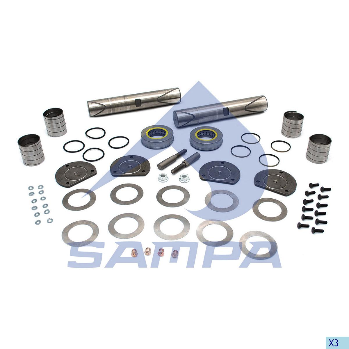 King Pin Kit, Axle Steering Knuckle, Power Unit