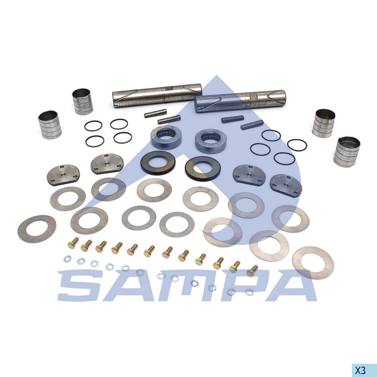 King Pin Kit, Axle Steering Knuckle, International Navistar, Power Unit
